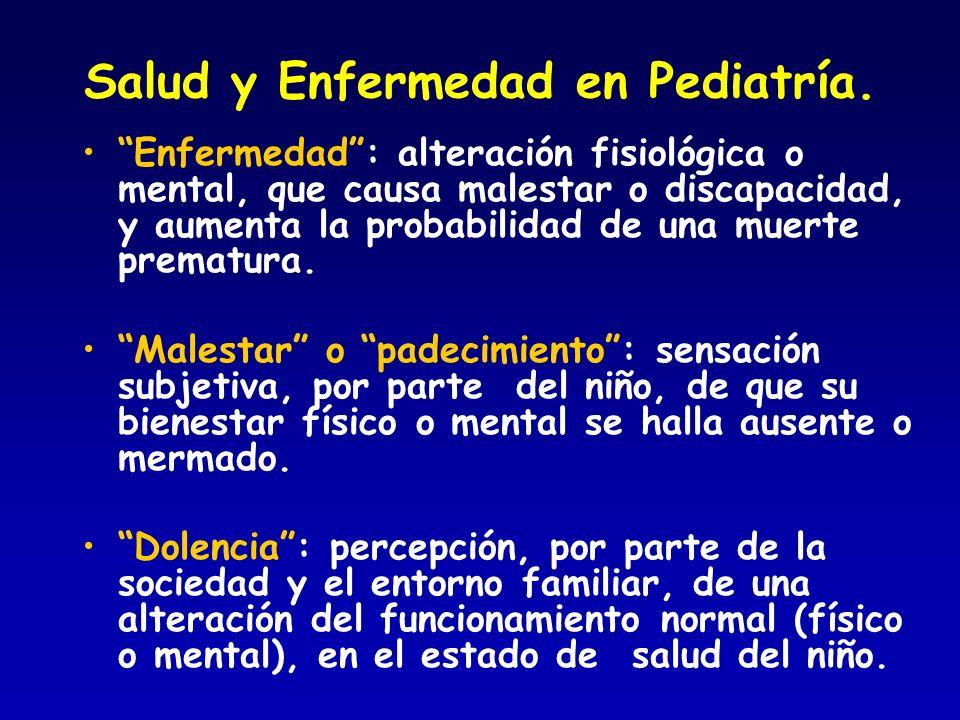 Salud y Enfermedad en Pediatría. Enfermedad: alteración fisiológica o mental, que causa malestar o discapacidad, y aumenta la probabilidad de una muer