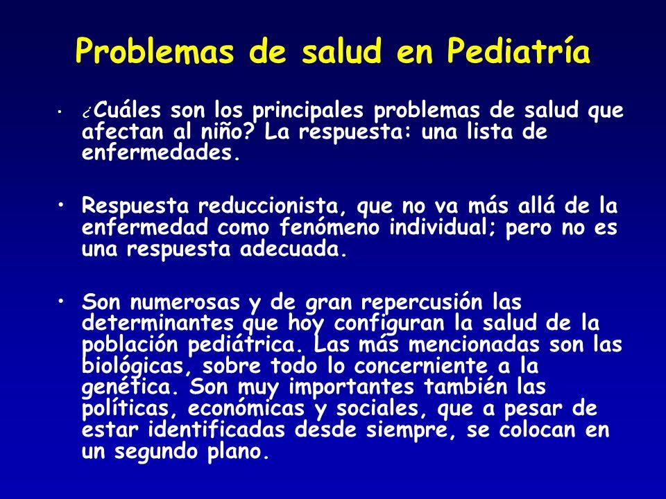 Problemas de salud en Pediatría ¿ Cuáles son los principales problemas de salud que afectan al niño? La respuesta: una lista de enfermedades. Respuest