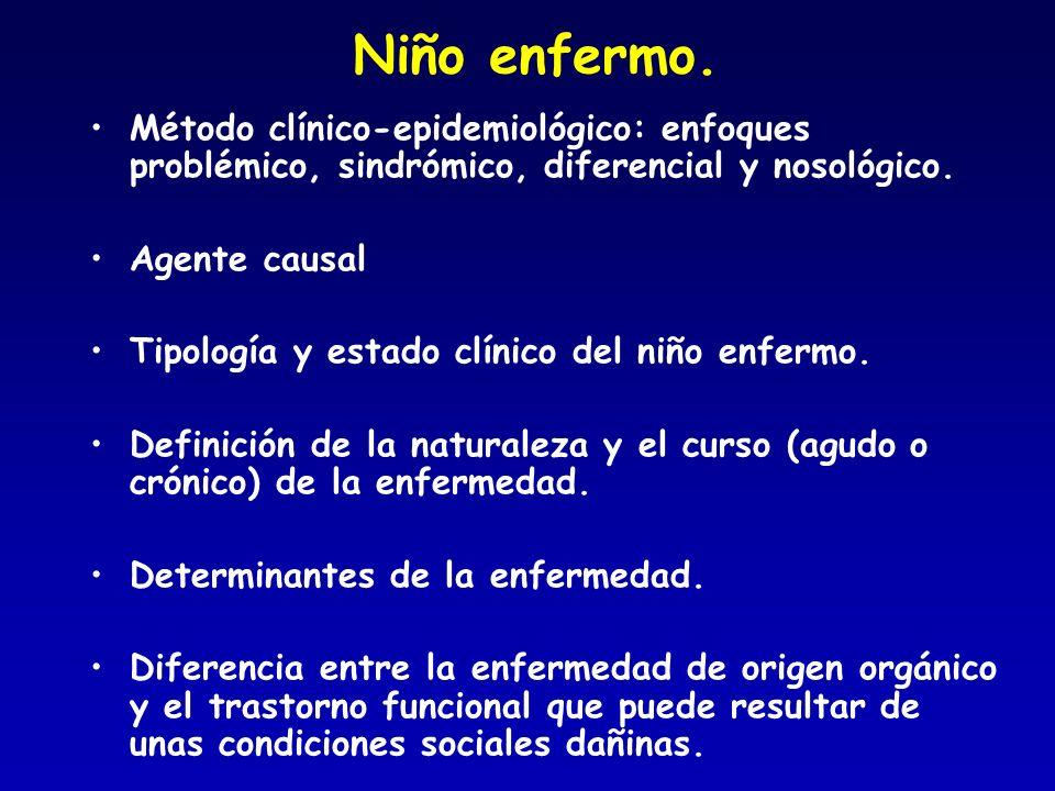 Niño enfermo. Método clínico-epidemiológico: enfoques problémico, sindrómico, diferencial y nosológico. Agente causal Tipología y estado clínico del n