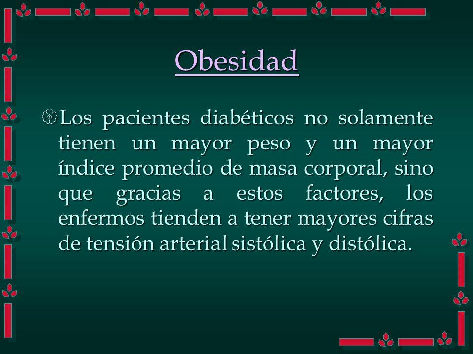 Obesidad Los pacientes diabéticos no solamente tienen un mayor peso y un mayor índice promedio de masa corporal, sino que gracias a estos factores, lo