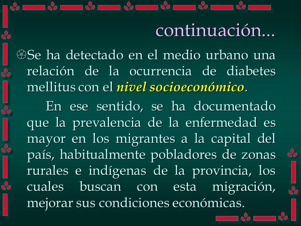 continuación... Se ha detectado en el medio urbano una relación de la ocurrencia de diabetes mellitus con el nivel socioeconómico. Se ha detectado en