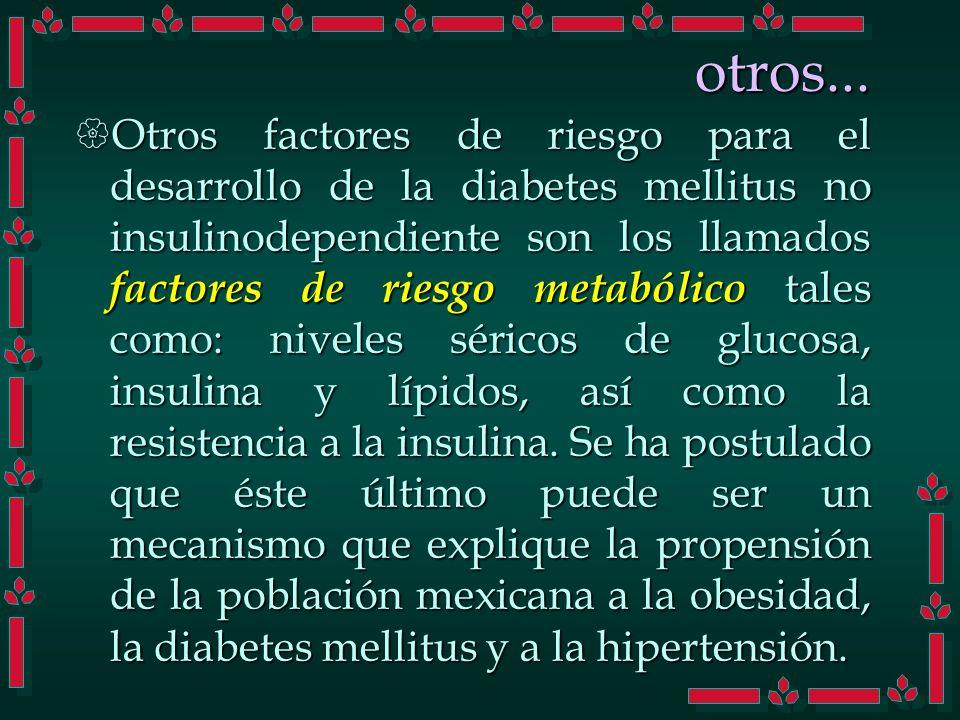 otros... Otros factores de riesgo para el desarrollo de la diabetes mellitus no insulinodependiente son los llamados factores de riesgo metabólico tal