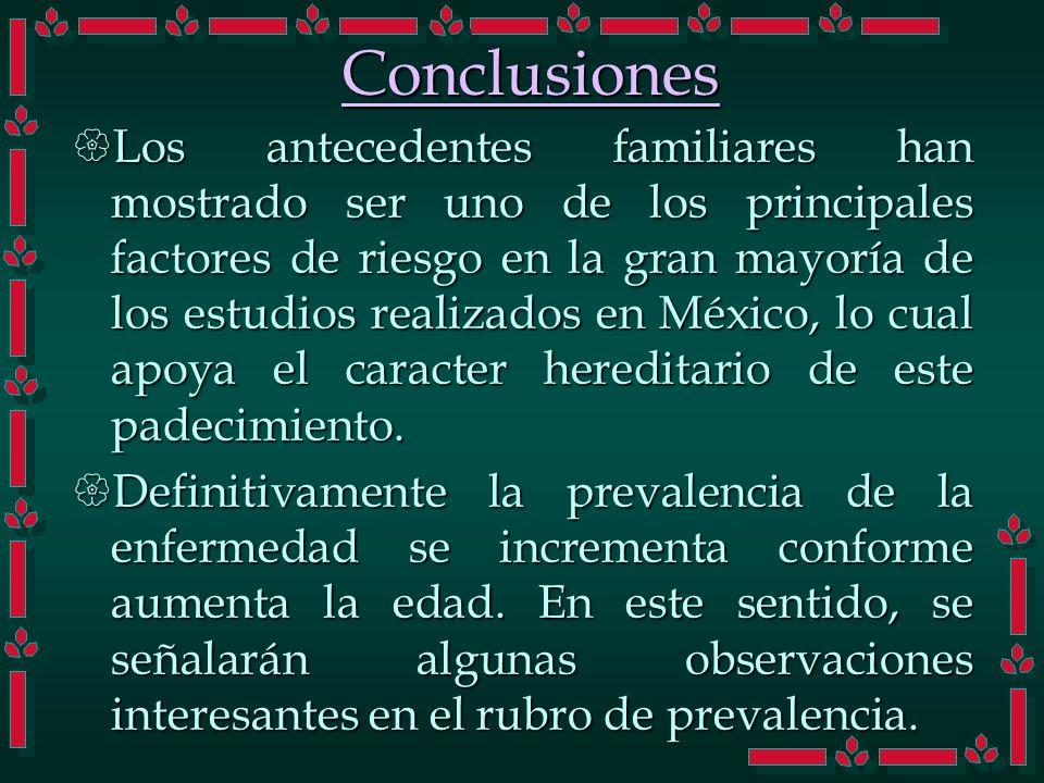 Los antecedentes familiares han mostrado ser uno de los principales factores de riesgo en la gran mayoría de los estudios realizados en México, lo cua