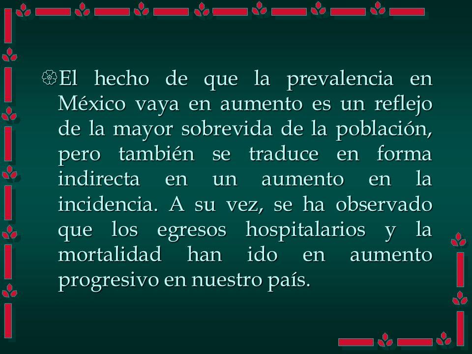 El hecho de que la prevalencia en México vaya en aumento es un reflejo de la mayor sobrevida de la población, pero también se traduce en forma indirec
