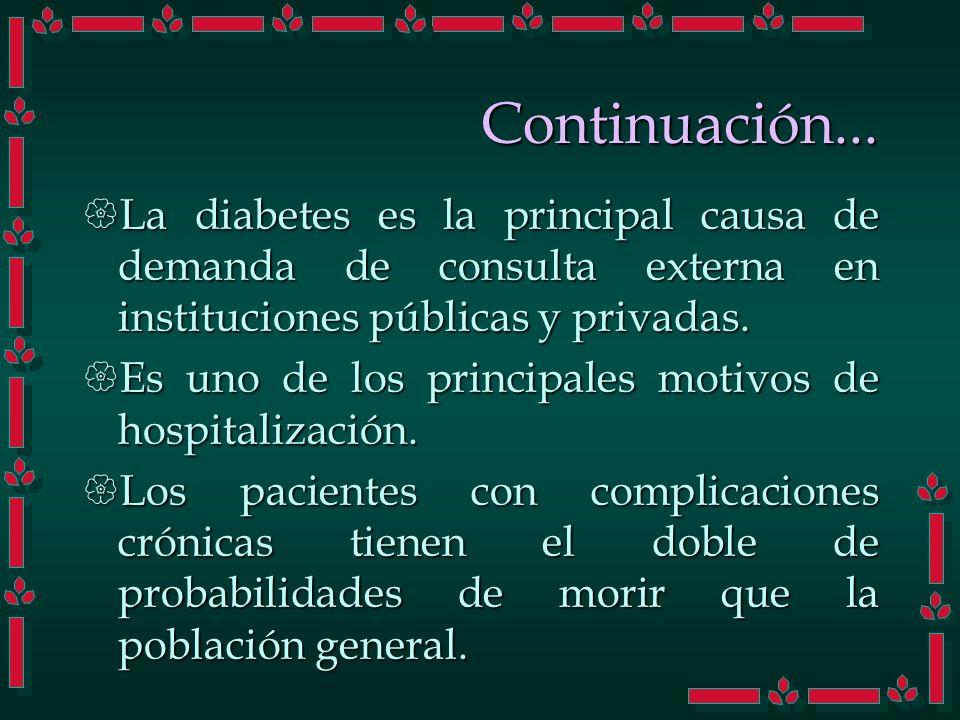La diabetes es la principal causa de demanda de consulta externa en instituciones públicas y privadas. La diabetes es la principal causa de demanda de