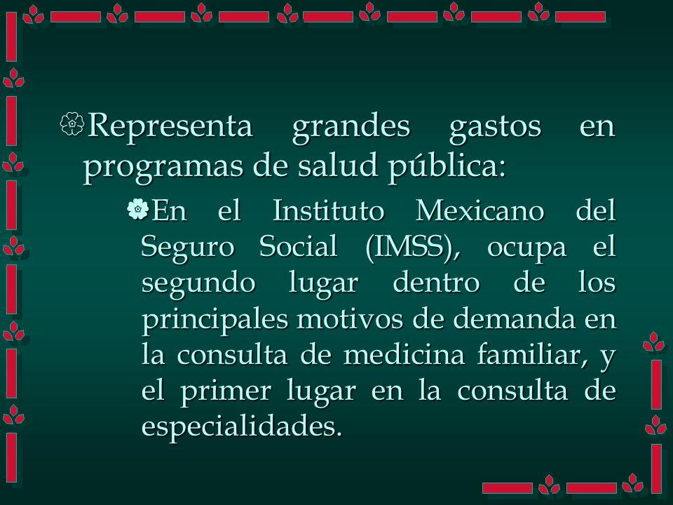 Representa grandes gastos en programas de salud pública: Representa grandes gastos en programas de salud pública: En el Instituto Mexicano del Seguro