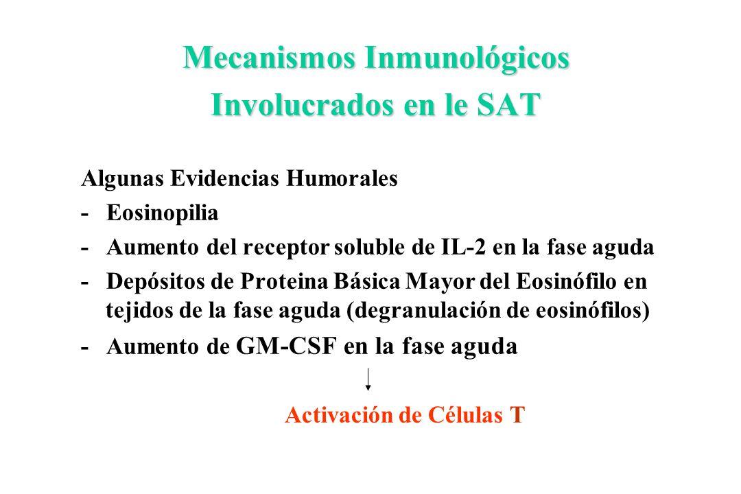 Mecanismos Inmunológicos Involucrados en le SAT Algunas Evidencias Humorales - Eosinopilia - Aumento del receptor soluble de IL-2 en la fase aguda - D