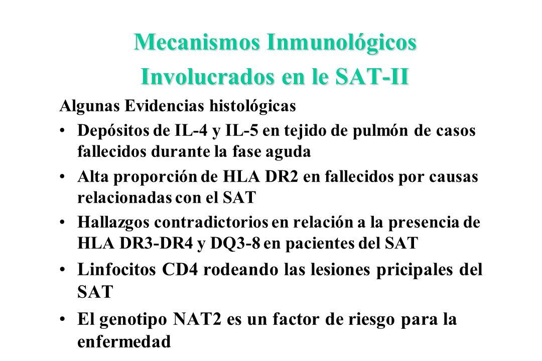 Mecanismos Inmunológicos Involucrados en le SAT-II Algunas Evidencias histológicas Depósitos de IL-4 y IL-5 en tejido de pulmón de casos fallecidos du