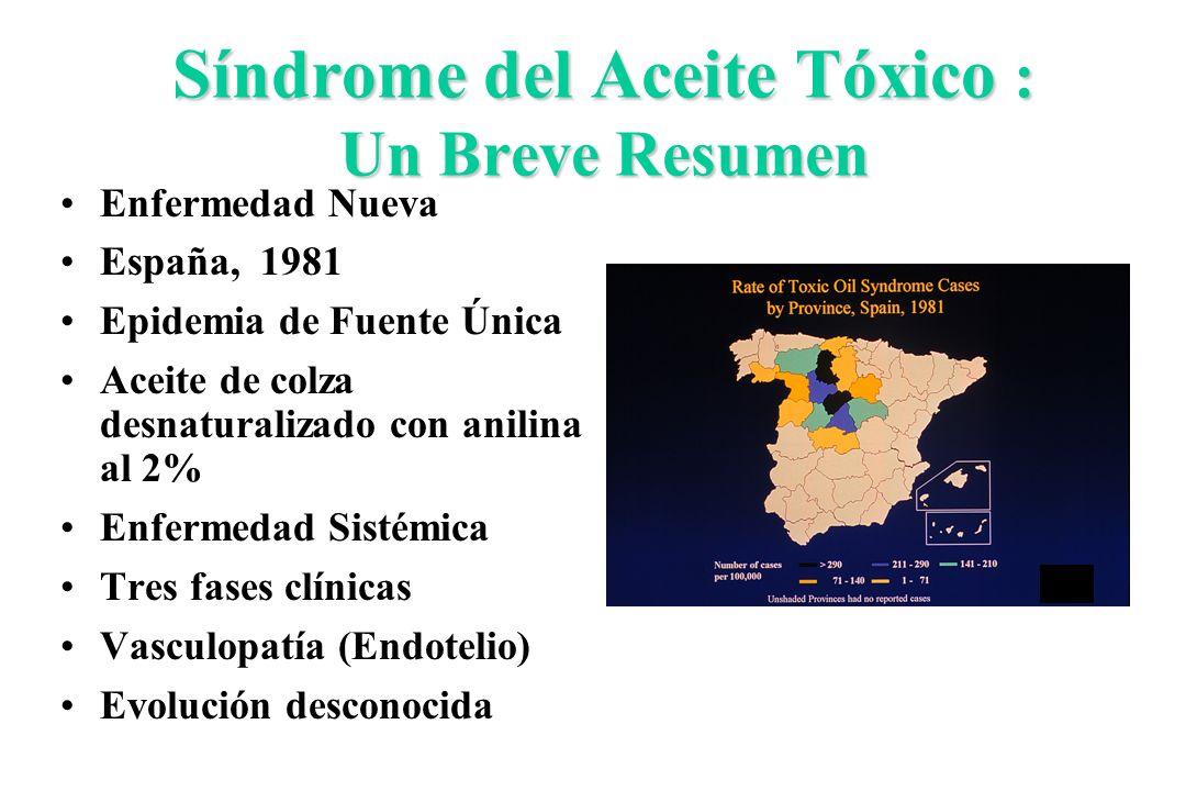 Síndrome del Aceite Tóxico : Un Breve Resumen Enfermedad Nueva España, 1981 Epidemia de Fuente Única Aceite de colza desnaturalizado con anilina al 2%
