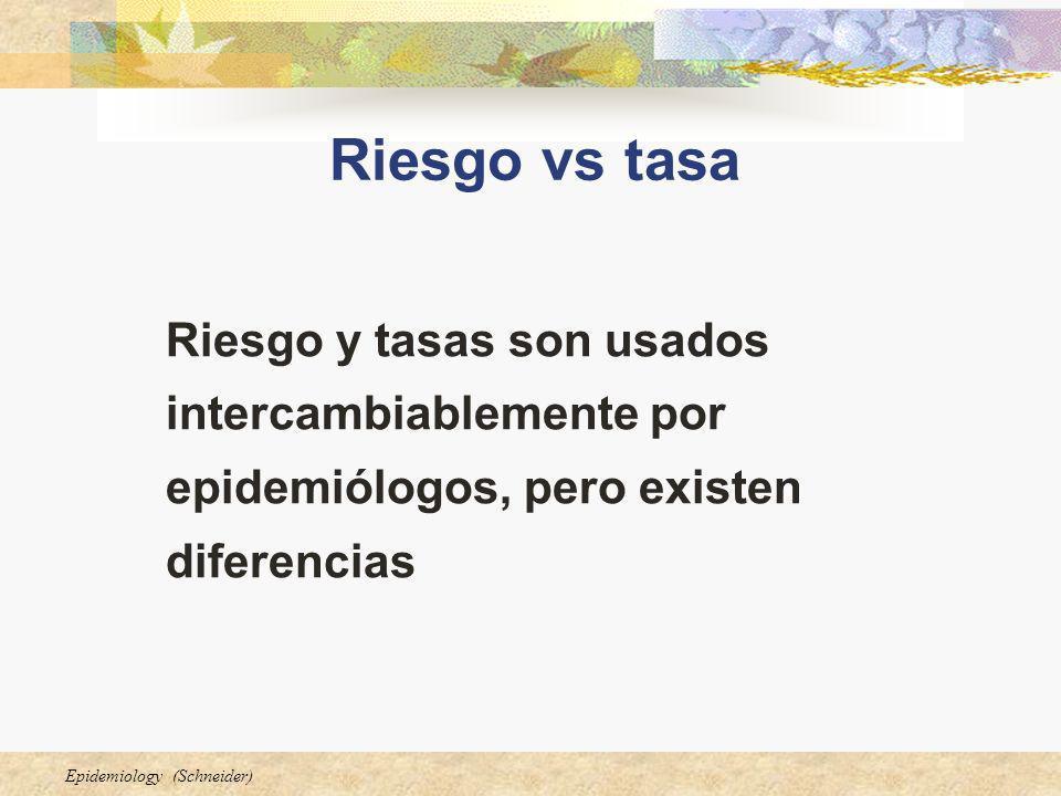 Epidemiology (Schneider) Riesgo vs tasa Riesgo y tasas son usados intercambiablemente por epidemiólogos, pero existen diferencias