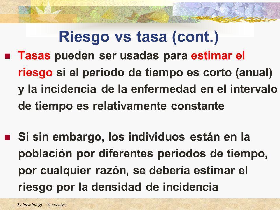 Epidemiology (Schneider) Riesgo vs tasa (cont.) Tasas pueden ser usadas para estimar el riesgo si el periodo de tiempo es corto (anual) y la incidenci