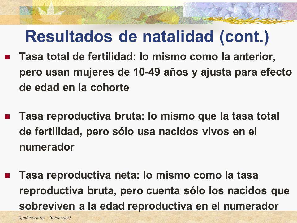Epidemiology (Schneider) Resultados de natalidad (cont.) Tasa total de fertilidad: lo mismo como la anterior, pero usan mujeres de 10-49 años y ajusta