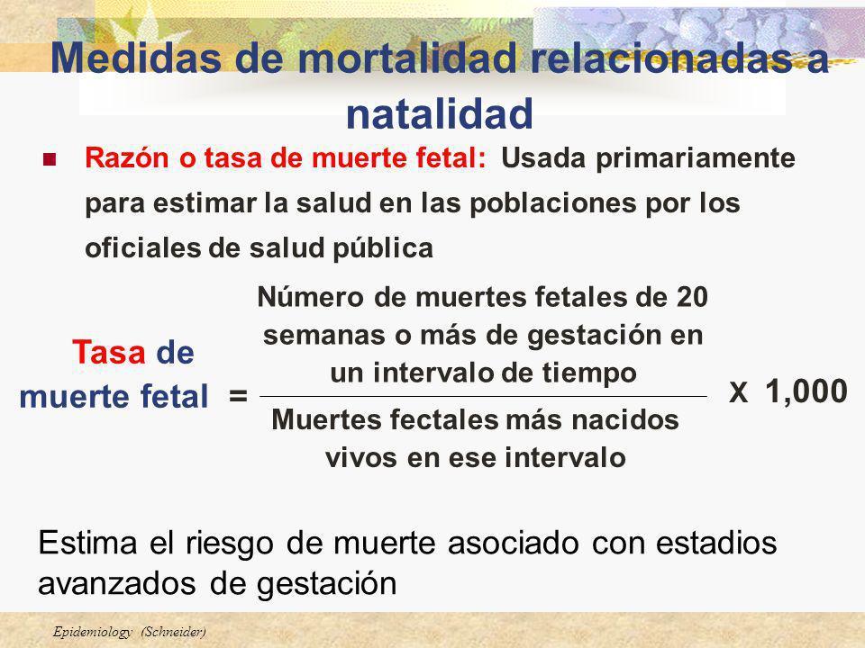 Epidemiology (Schneider) Medidas de mortalidad relacionadas a natalidad Razón o tasa de muerte fetal: Usada primariamente para estimar la salud en las
