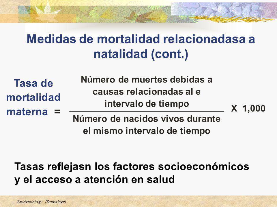 Epidemiology (Schneider) Medidas de mortalidad relacionadasa a natalidad (cont.) Tasas reflejasn los factores socioeconómicos y el acceso a atención e