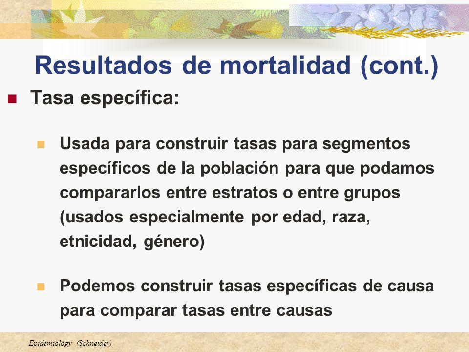 Epidemiology (Schneider) Resultados de mortalidad (cont.) Tasa específica: Usada para construir tasas para segmentos específicos de la población para