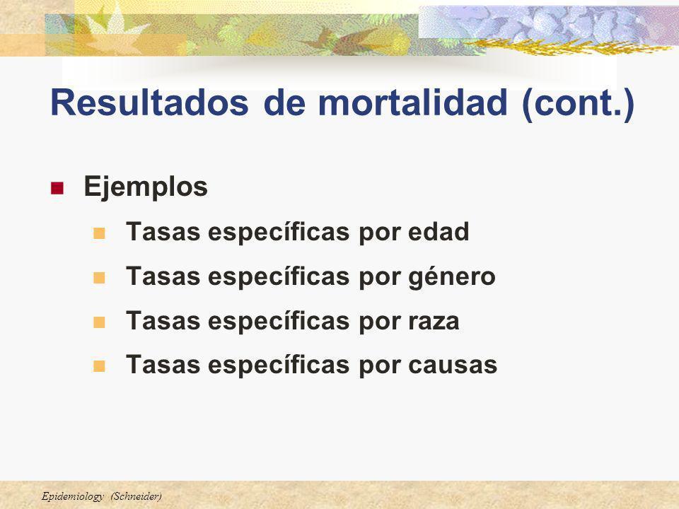 Epidemiology (Schneider) Resultados de mortalidad (cont.) Ejemplos Tasas específicas por edad Tasas específicas por género Tasas específicas por raza