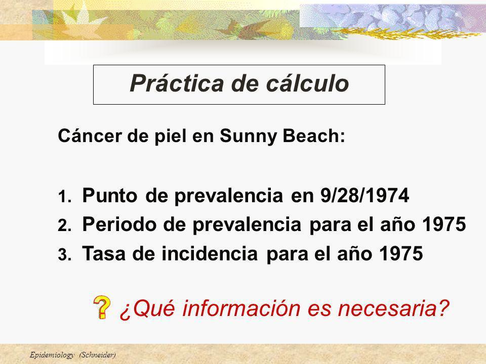 Epidemiology (Schneider) Práctica de cálculo Cáncer de piel en Sunny Beach: 1. Punto de prevalencia en 9/28/1974 2. Periodo de prevalencia para el año