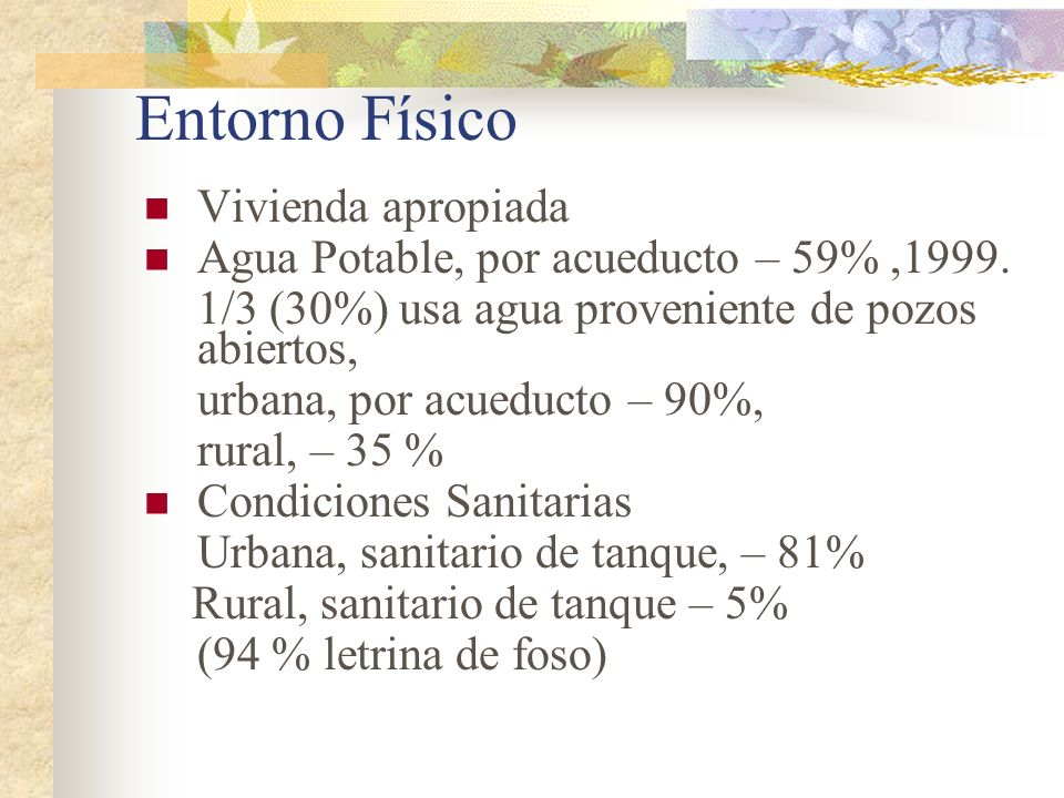 Entorno Físico Vivienda apropiada Agua Potable, por acueducto – 59%,1999. 1/3 (30%) usa agua proveniente de pozos abiertos, urbana, por acueducto – 90
