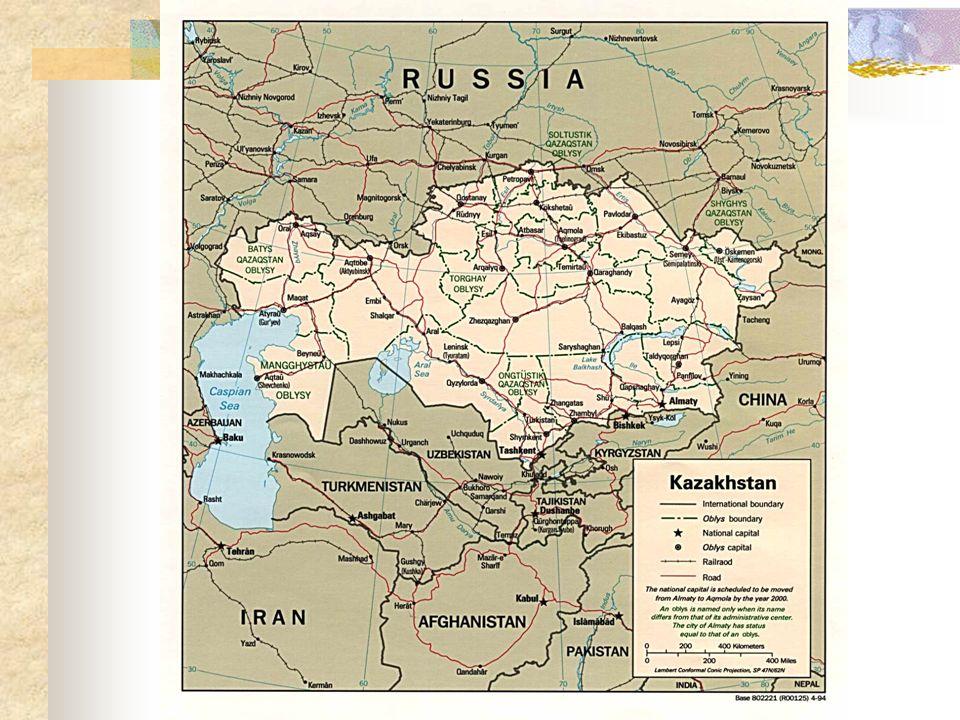 Kazakhstan: Ubicación: Norte de Asia Central Población: 14.9 millones (53% mujeres) (1999) Religión: Islam Distribución Étnica: Kazakh 53.4%, Rusos 30%, otros 16.6% Estado político: Antes, parte de la Unión Soviética, Estado independiente desde 1991