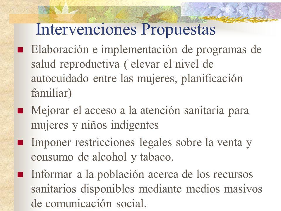 Intervenciones Propuestas Elaboración e implementación de programas de salud reproductiva ( elevar el nivel de autocuidado entre las mujeres, planific