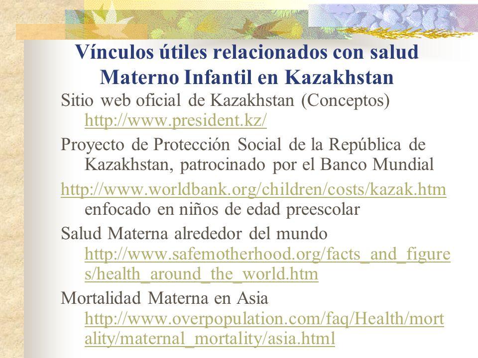 Vínculos útiles relacionados con salud Materno Infantil en Kazakhstan Sitio web oficial de Kazakhstan (Conceptos) http://www.president.kz/ http://www.