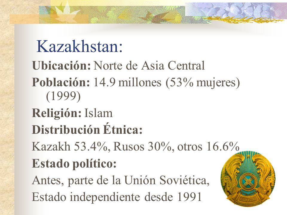 Kazakhstan: Ubicación: Norte de Asia Central Población: 14.9 millones (53% mujeres) (1999) Religión: Islam Distribución Étnica: Kazakh 53.4%, Rusos 30