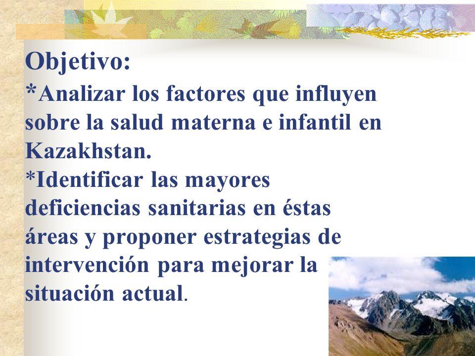 Objetivo: * Analizar los factores que influyen sobre la salud materna e infantil en Kazakhstan. *Identificar las mayores deficiencias sanitarias en és