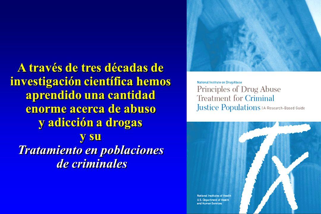 A través de tres décadas de investigación científica hemos aprendido una cantidad enorme acerca de abuso y adicción a drogas y su Tratamiento en pobla