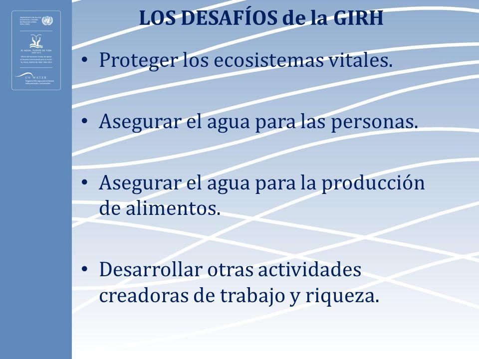 LOS DESAFÍOS de la GIRH Proteger los ecosistemas vitales. Asegurar el agua para las personas. Asegurar el agua para la producción de alimentos. Desarr