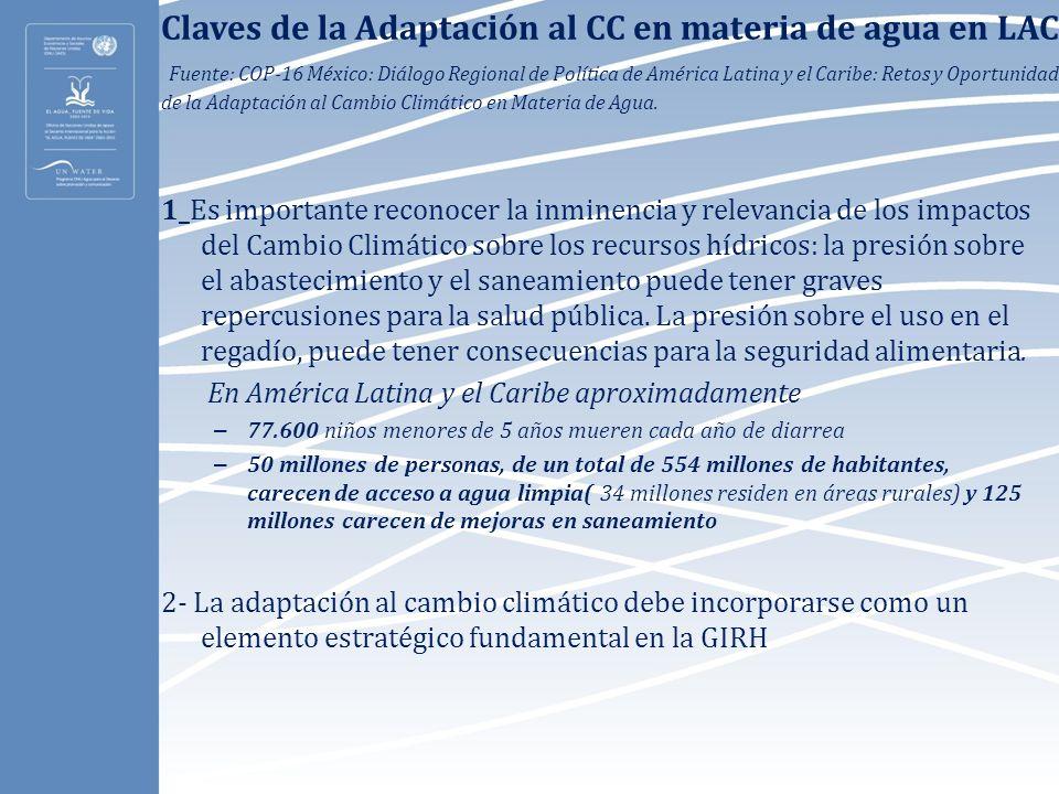 Claves de la Adaptación al CC en materia de agua en LAC. Fuente: COP-16 México: Diálogo Regional de Política de América Latina y el Caribe: Retos y Op