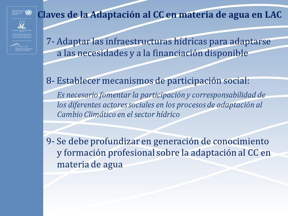 Claves de la Adaptación al CC en materia de agua en LAC 7- Adaptar las infraestructuras hídricas para adaptarse a las necesidades y a la financiación