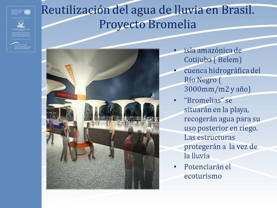 Reutilización del agua de lluvia en Brasil. Proyecto Bromelia isla amazónica de Cotijuba ( Belem) cuenca hidrográfica del Río Negro ( 3000mm/m2 y año)