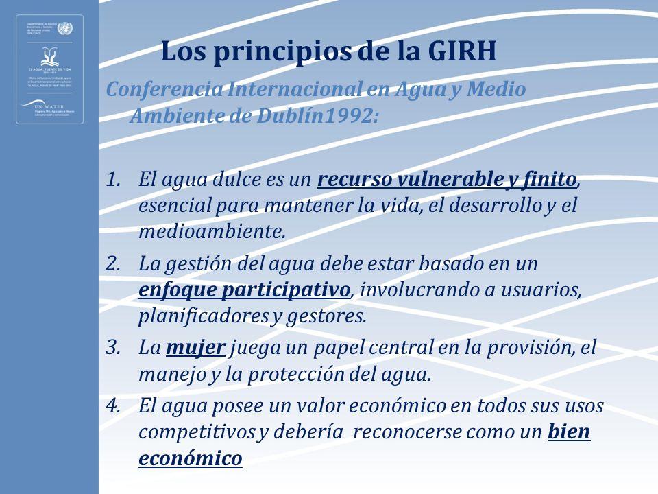 Los principios de la GIRH Conferencia Internacional en Agua y Medio Ambiente de Dublín1992: 1.El agua dulce es un recurso vulnerable y finito, esencia