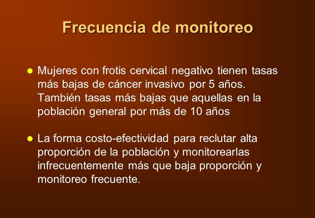 Frecuencia de monitoreo Mujeres con frotis cervical negativo tienen tasas más bajas de cáncer invasivo por 5 años. También tasas más bajas que aquella