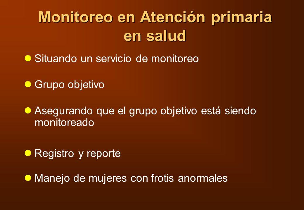Monitoreo en Atención primaria en salud Situando un servicio de monitoreo Grupo objetivo Asegurando que el grupo objetivo está siendo monitoreado Regi