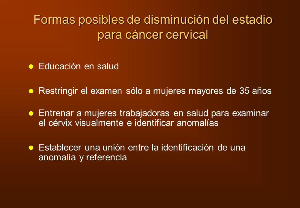 Formas posibles de disminución del estadio para cáncer cervical Educación en salud Restringir el examen sólo a mujeres mayores de 35 años Entrenar a m