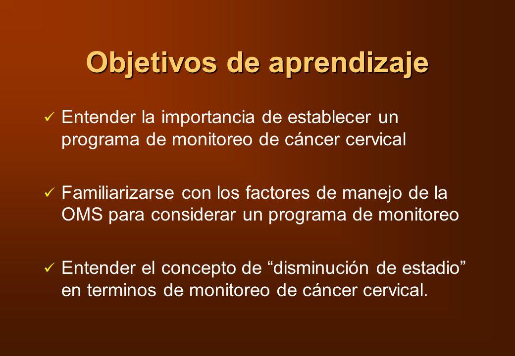 Costo-eficacia de dos estrategias diferentes para monitoreo de cáncer cervical en Chile Programa 1Programa 2 Edad30-55 años30-50 años FrecuenciaAnualmente, 3 añosAnualmente, 10 años Cumplimiento30%90% Reducción en mortalidad 15%44% Reducción en costo de tratamiento $0.13 millón USD$0.25 millón USD Costo por caso detectado $2,522 USD$556 USD