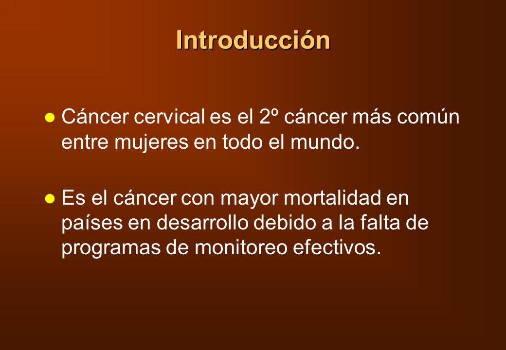 Introducción Cáncer cervical es el 2º cáncer más común entre mujeres en todo el mundo. Es el cáncer con mayor mortalidad en países en desarrollo debid