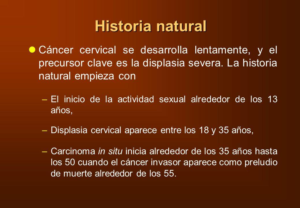 Historia natural Cáncer cervical se desarrolla lentamente, y el precursor clave es la displasia severa. La historia natural empieza con –El inicio de