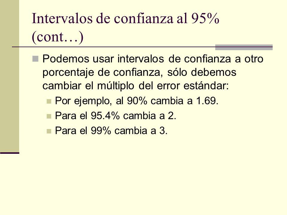 Intervalos de confianza al 95% (cont…) Podemos usar intervalos de confianza a otro porcentaje de confianza, sólo debemos cambiar el múltiplo del error