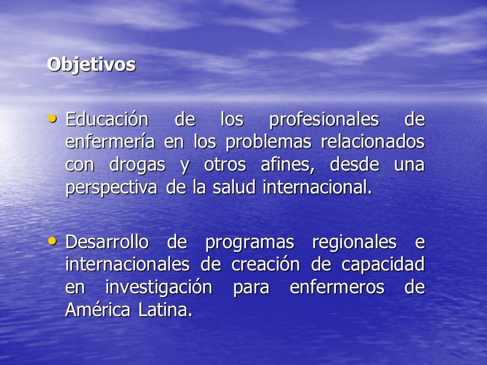 Objetivos Educación de los profesionales de enfermería en los problemas relacionados con drogas y otros afines, desde una perspectiva de la salud inte