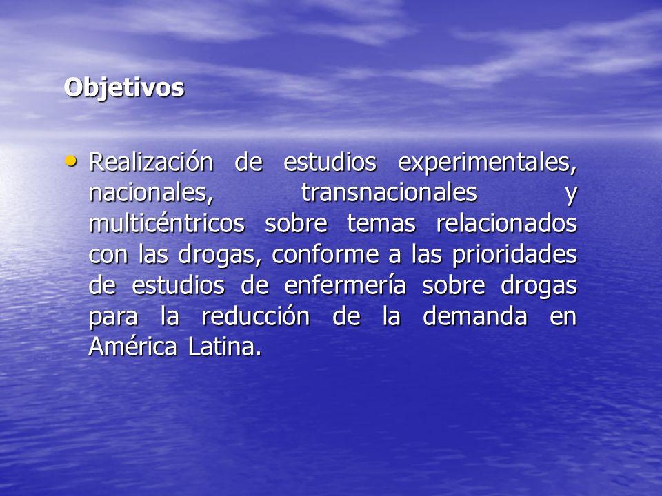 Objetivos Realización de estudios experimentales, nacionales, transnacionales y multicéntricos sobre temas relacionados con las drogas, conforme a las