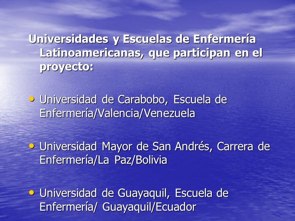 Universidades y Escuelas de Enfermería Latinoamericanas, que participan en el proyecto: Universidad de Carabobo, Escuela de Enfermería/Valencia/Venezu
