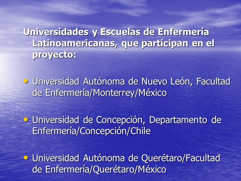 Universidades y Escuelas de Enfermería Latinoamericanas, que participan en el proyecto: Universidad Autónoma de Nuevo León, Facultad de Enfermería/Mon