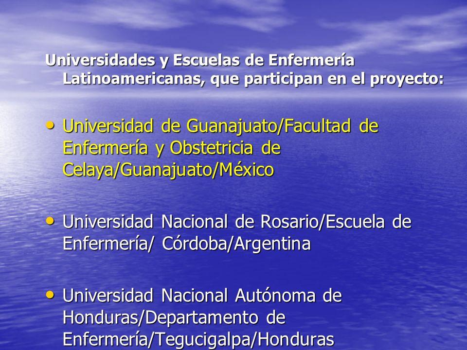 Universidades y Escuelas de Enfermería Latinoamericanas, que participan en el proyecto: Universidad de Guanajuato/Facultad de Enfermería y Obstetricia