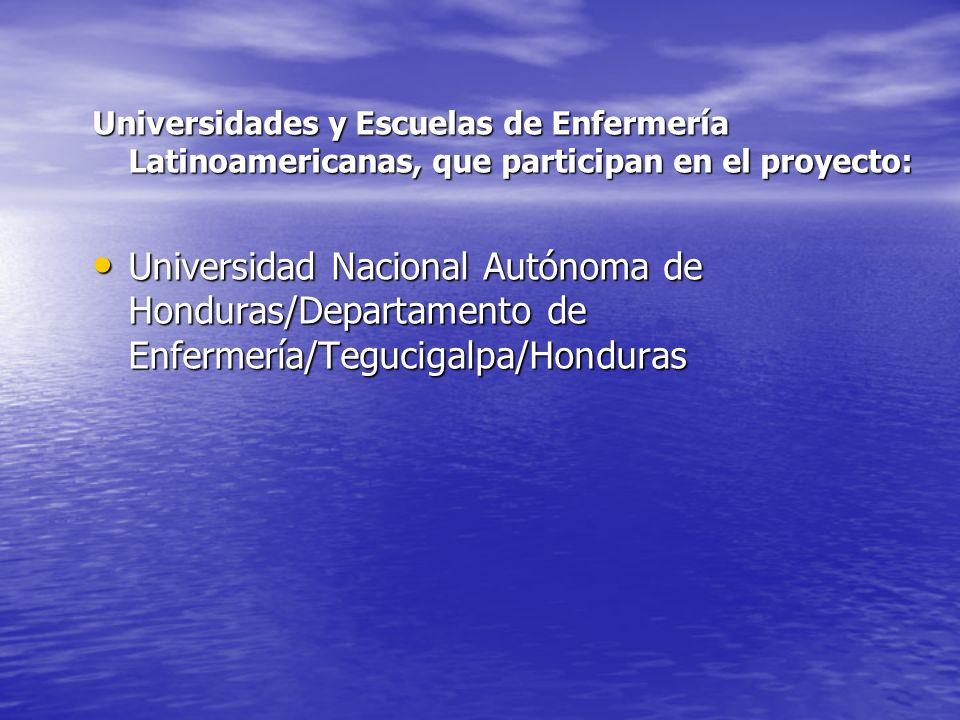 Universidades y Escuelas de Enfermería Latinoamericanas, que participan en el proyecto: Universidad Nacional Autónoma de Honduras/Departamento de Enfe