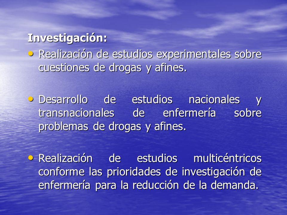 Investigación: Realización de estudios experimentales sobre cuestiones de drogas y afines. Realización de estudios experimentales sobre cuestiones de