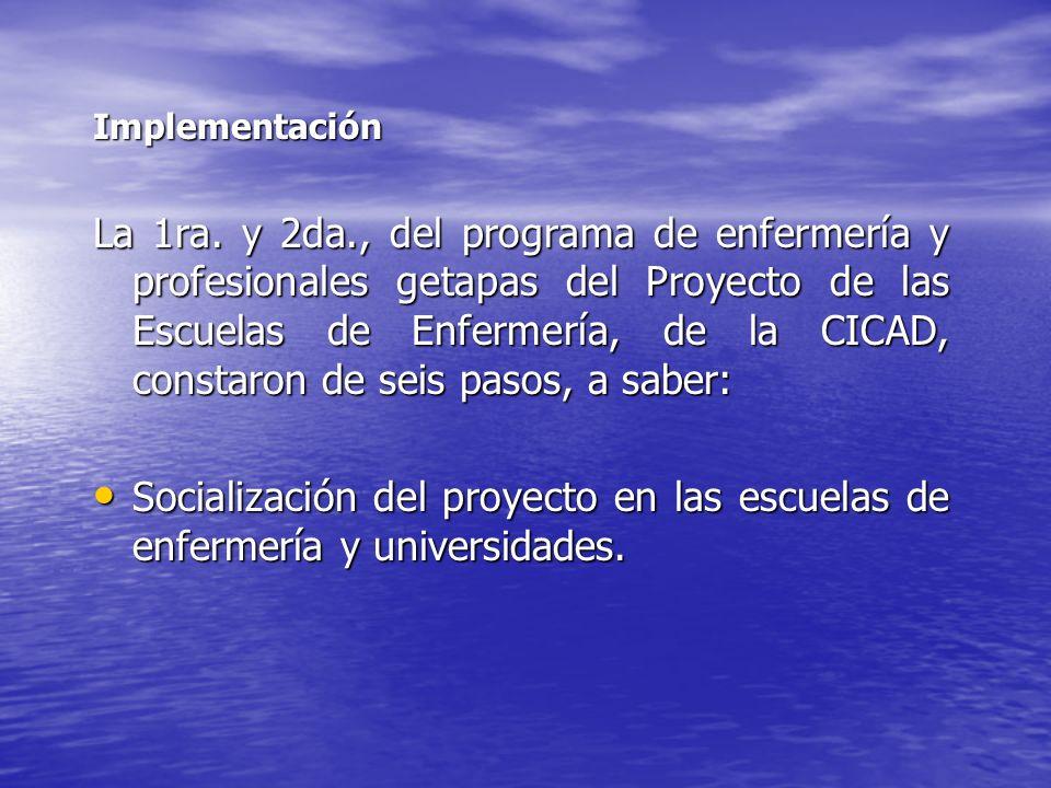 Implementación La 1ra. y 2da., del programa de enfermería y profesionales getapas del Proyecto de las Escuelas de Enfermería, de la CICAD, constaron d