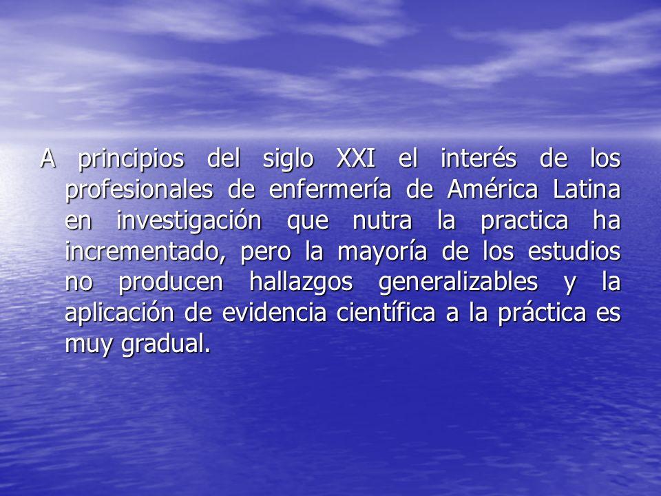 A principios del siglo XXI el interés de los profesionales de enfermería de América Latina en investigación que nutra la practica ha incrementado, per