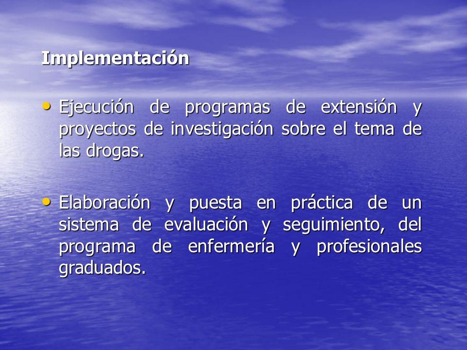 Implementación Ejecución de programas de extensión y proyectos de investigación sobre el tema de las drogas. Ejecución de programas de extensión y pro